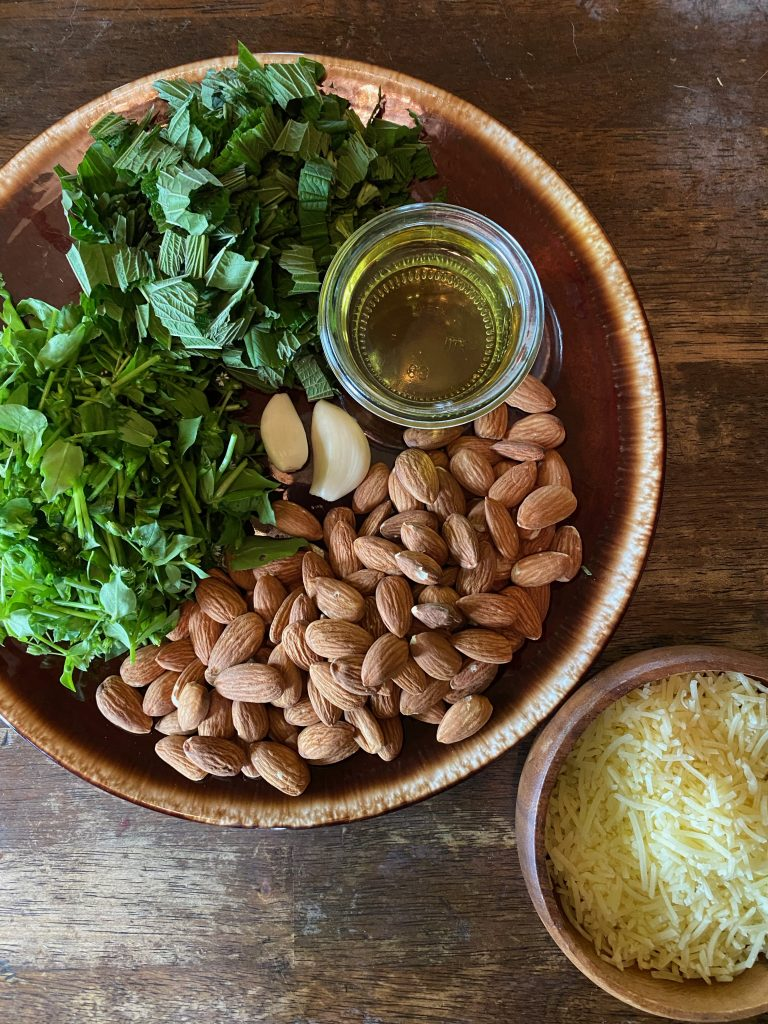 Chopped up Chickweed and Nettles, 2 cloves of garlic, 1/2 cup of avocado oil, and almonds on a brown ware plate and a wooden bowl of parmesan cheese on a wooden table
